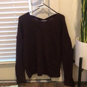 Oversized sweater with open back
